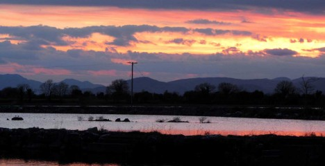Greenfield Lodge and Lake Bar Gallery - Sunset view of Lough Corrib from Greenfield Lodge